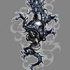 Дракон и череп, 100x100